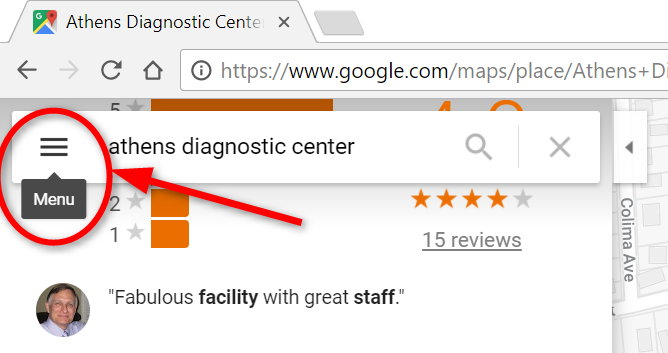 google review menu button